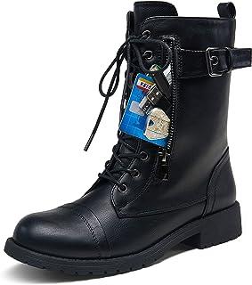 حذاء VEPOSE للنساء 28 لمنتصف الساق جزمة القتال العسكرية الأسود مع جيب محفظة سكين بطاقة (10، عسكري - 928-أسود)