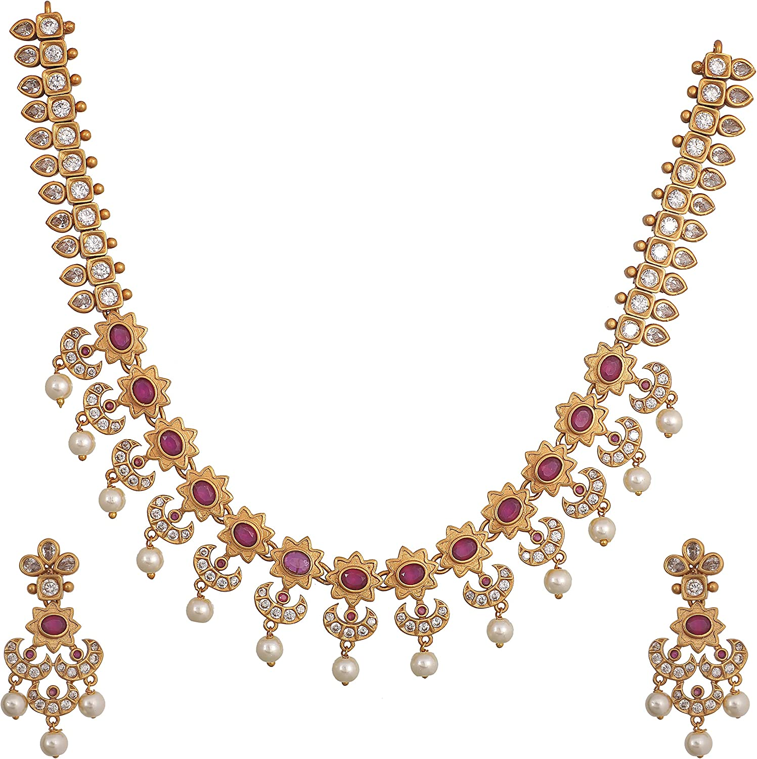 Tarinika White Gold-Plated Indian Necklace Set For Women and Girls
