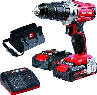 Einhell 4513834 Taladro sin Cable Percutor TE-CD 18/2 li-i kit con Bateria Litio, 18 V, Rojo