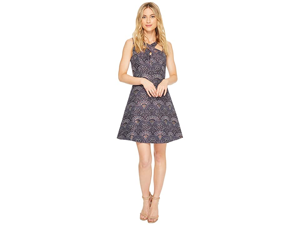 CeCe Lisa Sleeveless Double Strap Jacquard Dress (Hale Navy) Women