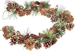 Christmas Garland with Pine Cones and 10 LED in Warm White, 6 Hour Timer Function, Battery Operated, for Christmas, Decora...