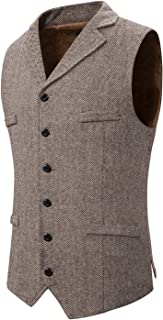 Atryone Men's Herringbone Waistcoat 6 Button Wool Tweed Suit Vest with Lapels