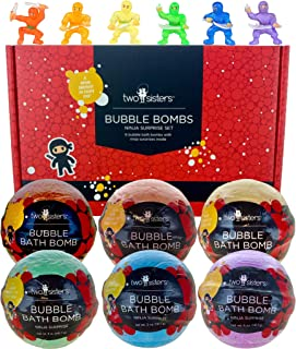 Ninja Bubble Bath Bombs for Kids with Surprise Toys Inside for Boys and Girls by Two Sisters. 6 Large 99% Natural Fizzies ...