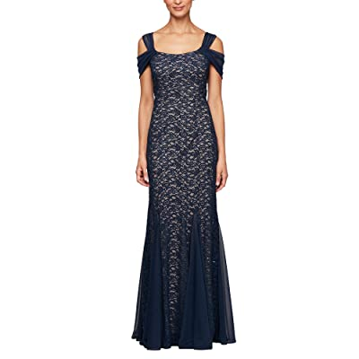 Alex Evenings Long Fit-and-Flare Cold-Shoulder Dress (Navy/Nude) Women