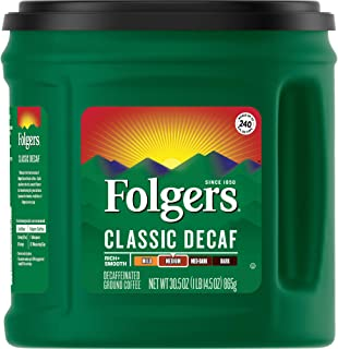 Folgers Classic Decaf Ground Coffee, Medium Roast, 30.5 Ounce (Pack of 6)
