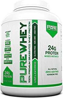 Grass Fed Whey Protein | 5lb + Unflavored Grass Fed Whey | 100% Natural Whey w/No Sweeteners or Added Sugars | rBGH Free + GMO-Free + Gluten Free + Preservative Free | Pure Whey