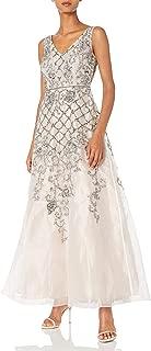 Adrianna Papell Women's Sleevless Beaded Organza V Neck Ball Gown