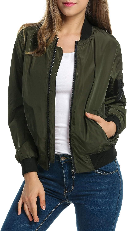 Zeagoo Spasm price Max 42% OFF Women Classic Solid Biker up Coa Jacket Bomber Zip