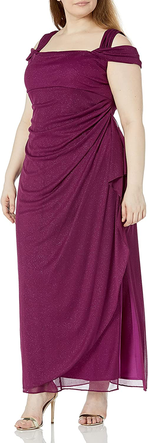 Alex Evenings Women's Plus Size Ranking TOP14 Import Side Ruched Cold-Shoulder Dress
