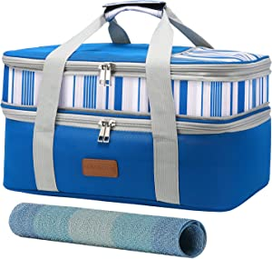 LOVEVOOK Casserole Carrier-Expandable Insulated Food Carrier,Lasagna Holder for hot or cold food,Casserole Dish Carrier for Picnic Potluck Beach Day Trip Cookouts(Blue)
