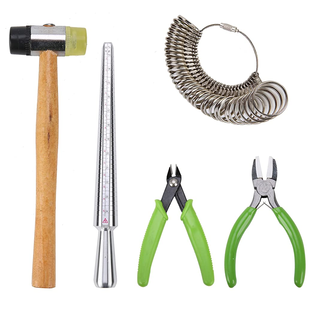 YaeTek Jewelry Tools Kit Including Jewelers Rubber Hammer, Metal Ring Mandrel, Ring Sizer Ring Tool Finger Gauge, Nylon Jaw Pliers and Jewelry Flush Cutter