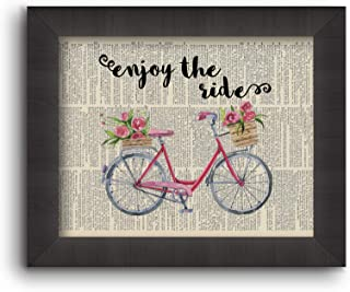 """Cecelia Rose Book Art 5x7 Print""""Enjoy The Ride"""" Vintage Bicycle with Flowers"""