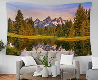 Asdecmoly Tapestry Wall Hanging Printing Tapestries for Living Room and Bedroom 60 Lx50 W Inches Mountain Range Its Reflection Grand Teton National Park USA Landscape Unique Part Art Printing Inhouse