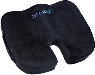 Relaxdays Cojín ortopédico de Espuma viscoelástica para Silla de Ruedas, ergonómico y antipresión, Color Negro