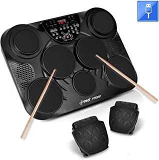 Pyle Portable Drums, Tabletop Drum Set, 7 Pad Digital Drum Kit, Touch Sensitivity, Wireless Electric Drums, Drum Machine, Electric Drum Pads, LED Display, Mac & PC - PTED01