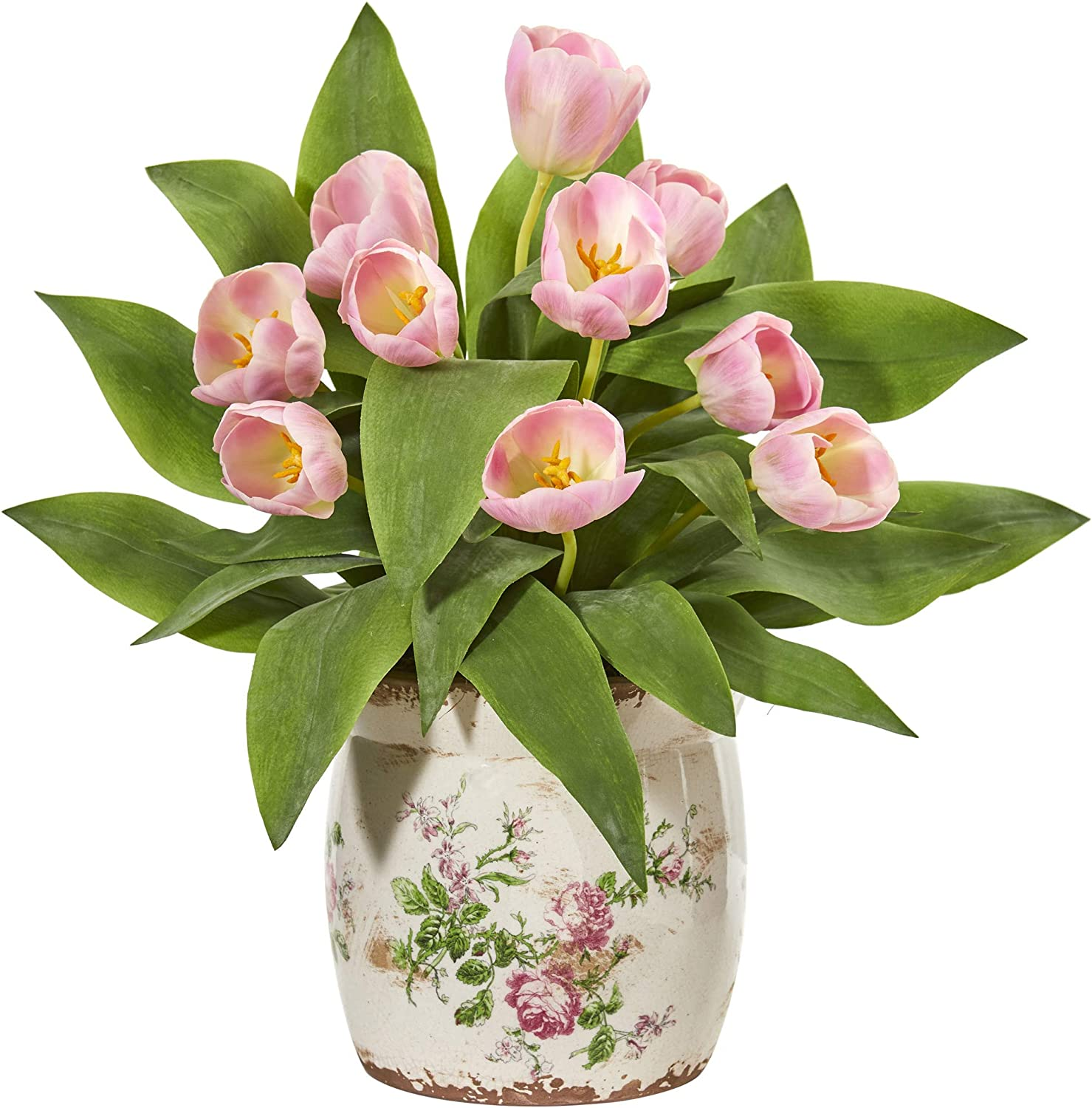 Nearly Natural Tulip Artificial Floral Design Fashionable Silk Inventory cleanup selling sale Arrangem Vase