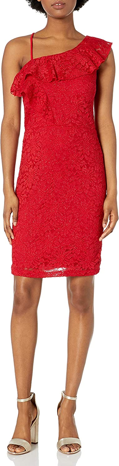 My Michelle Sequin Hearts Junior's All Over Lace Sheath Dress with Off The Should Ruffle and Spaghetti Strap