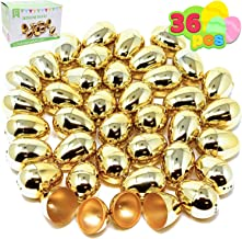 """JOYIN 36 Pieces Shiny Golden Metallic Easter Eggs 2 3/8"""" in Gold Color for Filling Specific Treats, Easter Theme Party Favor, Easter Hunt, Basket Stuffers Fillers, Classroom Prize Supplies Toy"""