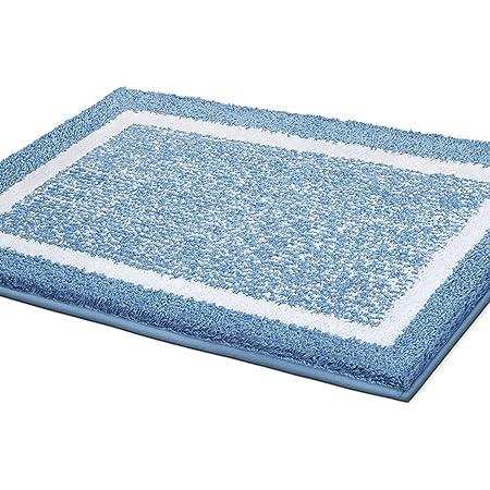 Color&Geometry Alfombra de Baño Antideslizante, Alfombrilla de Baño, Microfibra Suave, Lavable en la Lavadora, Súper Absorbente, 40 x 60 cm (Azul)