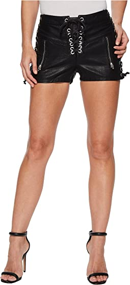 Vegan Leather Hi Rise Lace-Up Shorts in Game On