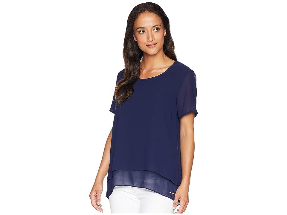 6a803179237b83 MICHAEL Michael Kors Back Cut Out Short Sleeve Top (True Navy) Women s  Clothing