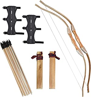 Clever Warrior - Wooden Bow and Arrow for Kids - 2 Sets with Arm Guards - 20 Arrows, 2 Bows, 2 Quivers and 2 Arm Guards - ...