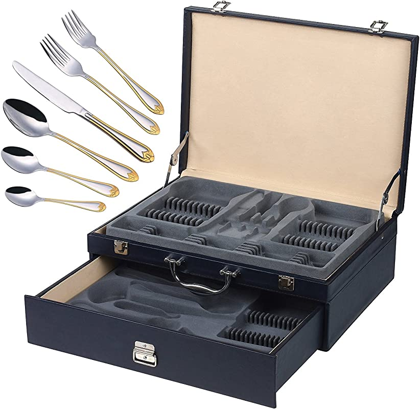 Italian Collection Lorena Gold 84 Pc Flatware Set W Leather Storage Case Dining Cutlery Service For 12 24K Gold Plated 18 10 Stainless Steel Hostess Serving Set In A Chest