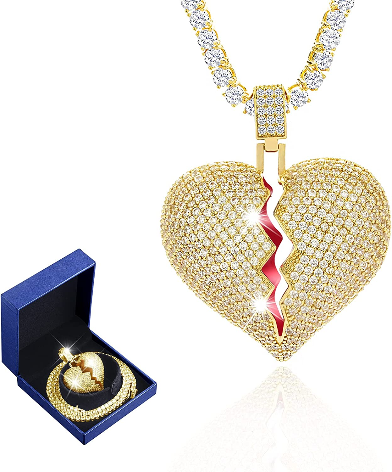 Senteria Hip Today's only Gorgeous Hop Iced-Out Necklace for Men CZ Plated Gold Fu 18K