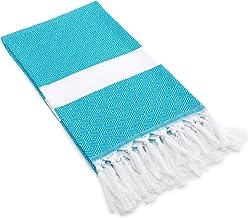 "Linum Home Textiles 100-Percent Turkish Cotton Diamond Weave Pestemal, Turquoise, 39""x 64"""