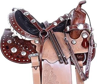AceRugs Beautiful Tooled New Arabian Tree Two Tone Western Pleasure Trail Crystal Premium Leather Horse Saddle TACK Breast Collar Bridle REINS