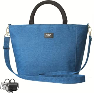 SEEKERS COVE Lunch Bag for Women with Shoulder Strap Womens Lunch Bag Lunch Box Metal Zipper, Canvas Shell, Double Insulated | Cute Purse Lunch Bag Lunch Tote, Side Pocket | (Blue)