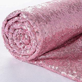 ShiDianYi Fuchsia Pink Sequin Fabric-by The Yard, Sequin Fabric, Tablecloth, Table Runner, Sequin Backdrop Decor(3 Feet 1 ...