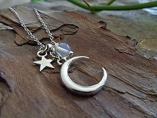 ✿ LUNA - meravigliosa, delicata collana TENDER MOON MOON STONE & MINUTO STAR ✿
