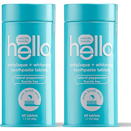 hello Antiplaque with Whitening Toothpaste Tablets Gently Remove Surface Stains, Natural Peppermint 120 Count (Pack of 2)