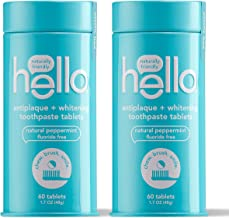 Hello Antiplaque + Whitening Toothpaste Tablets Gently Remove Surface Stains, Delicious Farm Fresh Peppermint, Fluoride Fr...