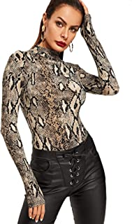 Women's Pullover Leopard Tops Bodysuit Long Sleeves Jumpsuit