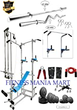 FITNESS MANIA ABS Tower with 20 in 1 Bench (Rectangle Pipe 2x2 INCH) + 100 KG Rubber Weight + 5FT Plain Rod (25 mm) + 3 FT Curl Rod (20 mm)(Silver)