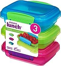 حاويات تخزين الطعام مجموعة الغداء 41524 من سيستيما، باللون الأزرق، والأخضر، والوردي