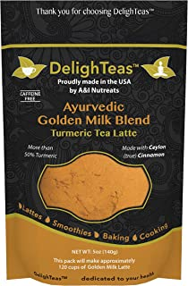 Ayurvedic Organic Golden Milk blend; No added sugar or sweetener; 5oz (120 Servings); More than 50% Turmeric with Ceylon (true) Cinnamon; Anti-Inflammatory - Best for organic vegan latte recipe