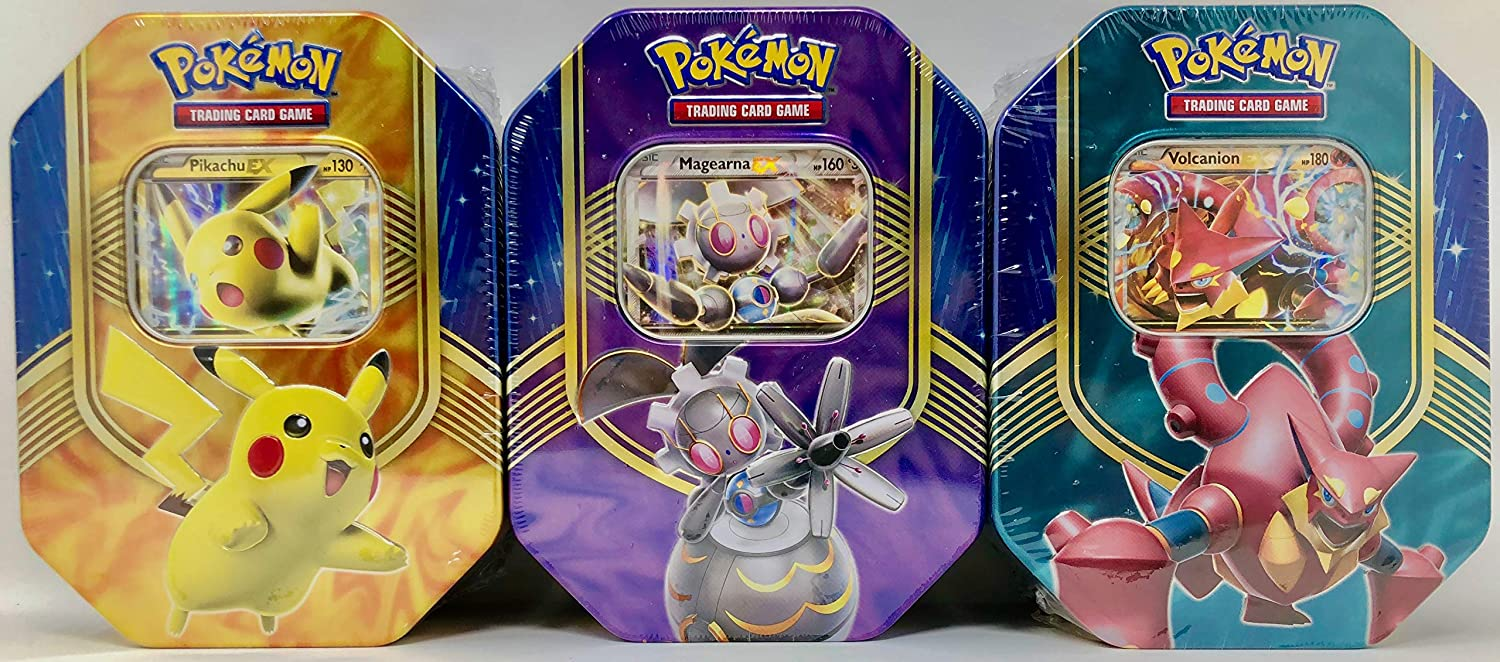 Pokemon Set of All 3 2016 Battle Hearts Booster Pack Tins  Pikachu & Volcanion & Magearna