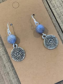 Sodalite Gemstone Floral Coin on Sterling Silver Dangle Earrings Jewelry