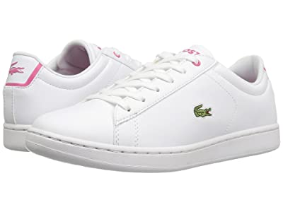 Lacoste Kids Carnaby Evo (Little Kid/Big Kid) (White/Pink) Kids Shoes