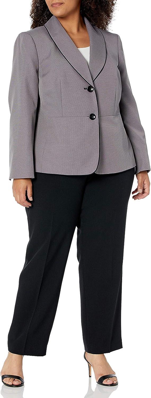 Le Suit Women's Plus Size 2 Button Shawl Collar Pin Check Slim Pant Suit