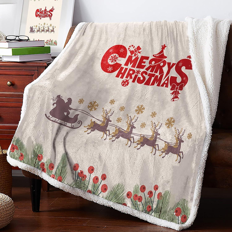 MuswannaA Sherpa Fleece Free shipping Throw Blanket Ranking TOP20 Sleigh Christmas and Fruit