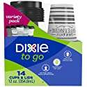 Dixie To Go Coffee Cups and Lids, 12 Oz, 14 Count, Assorted Designs, Disposable Hot Beverage Cups & Lids