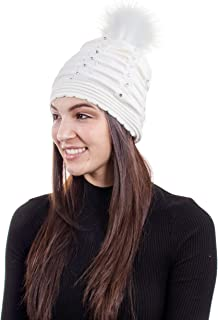 Women Winter Diamond Knit Faux Fur Pompom Beanie Hat