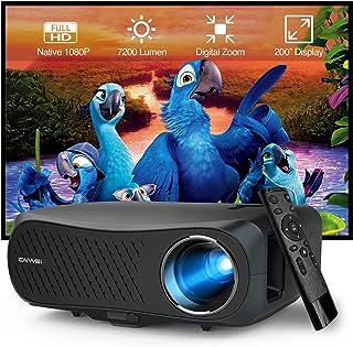 2020 Video Projector Full HD 1080P Native, 5500 Lumens LCD LED Home Theatre Outdoor Projectors 1920x1080 Resolution HDMI U...