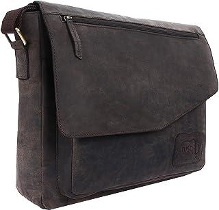 TUSC TUSC Triton Braun Leder Tasche Laptoptasche 13,3 Zoll Herren Umhängetasche Aktentasche Schultertasche für Büro Notebook Messenger Bag Laptop iPad, Größe- 36x28x9 cm