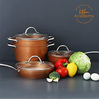 lagostina copper hand hammered design cookware set