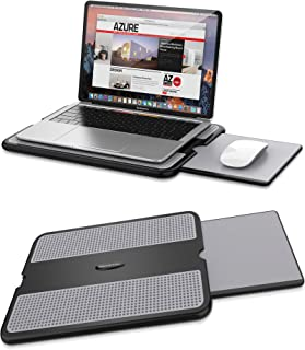 AboveTEK Portable Laptop Lap Desk w/ Retractable Left/Right Mouse Pad Tray, Non-Slip Heat Shield Tablet Notebook Computer ...